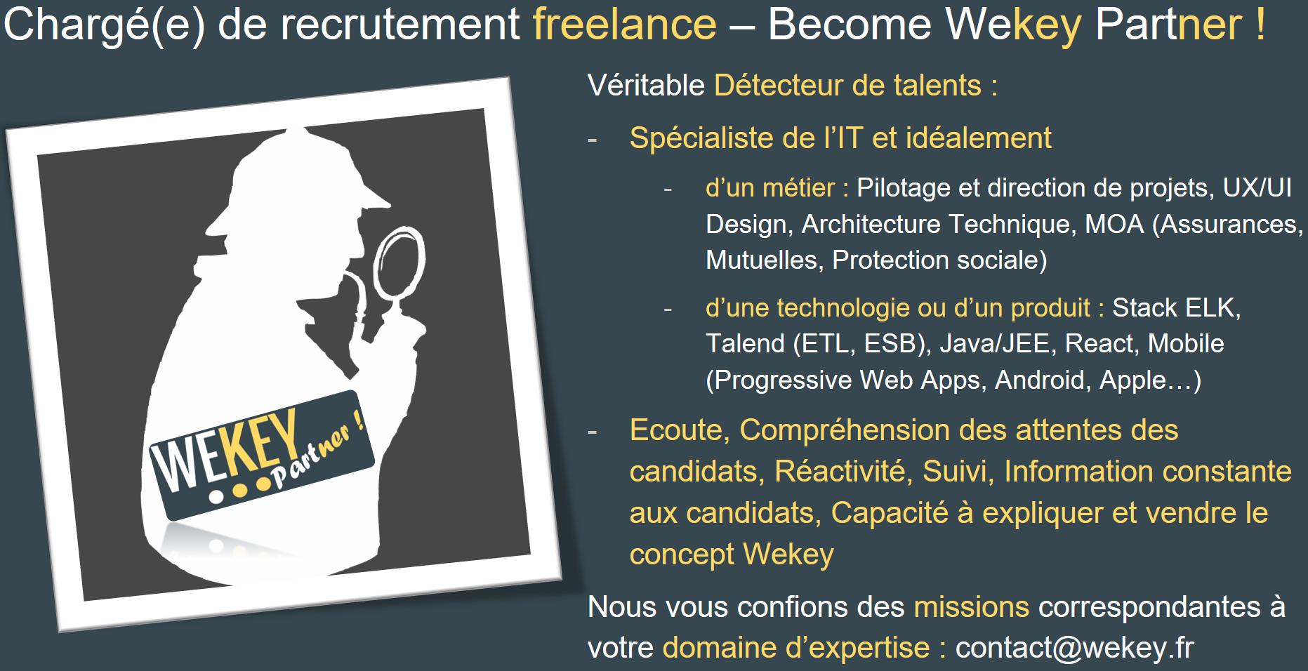 Wekey recherche des Chargé(e)s de recrutement freelance